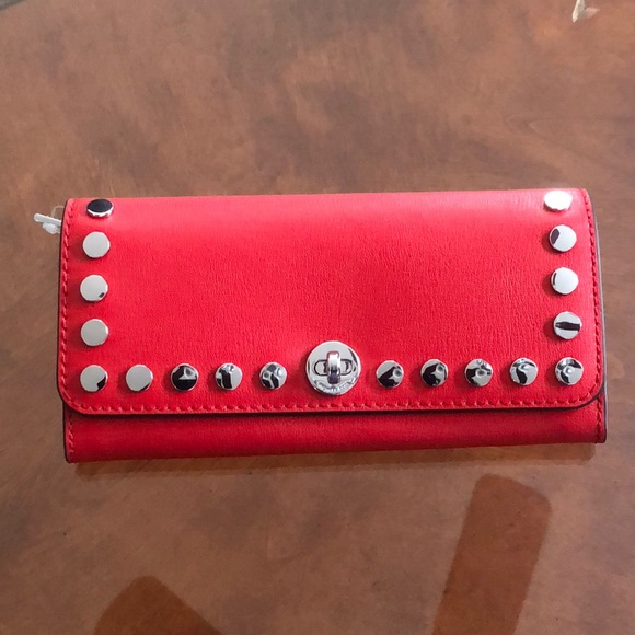 2efc0635f447 Michael Kors Bags | Mk Bright Red Large Leather Wallet | Poshmark